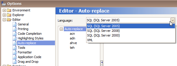 "The Toad Auto-Replace configuration screen needs a ""SQL (Any Version)"" option added to the pick list."